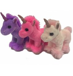 A fun assortment of pretty pink and purple toned soft toy unicorns