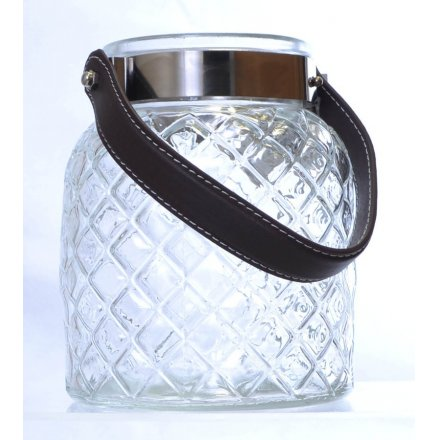 Glass Lantern With Leather Handle 15.5cm