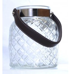 Bring a rustic charm to your home interior or displays with this clear glass diamond ridged lantern