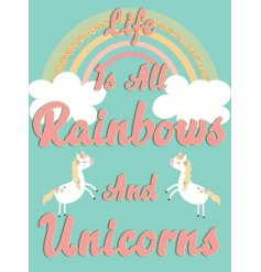 A magical metal sign, covered in bright tones and pretty unicorns!