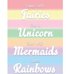A magical inspired metal sign covered in pretty pastel tones and script text quote