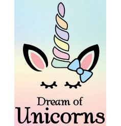 A magical themed hanging metal sign, covered in pretty pastel tones and an added unicorn decal