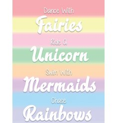 Dance With Fairies, Unicorn, mermaids Mini Metal Sign