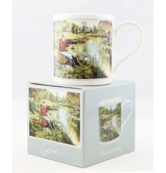 A beautifully vintage inspired illustrated China Mug, set with a fishing print and matching gift box