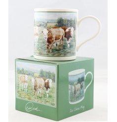 A beautifully vintage inspired illustrated China Mug, set with a calf print and matching gift box