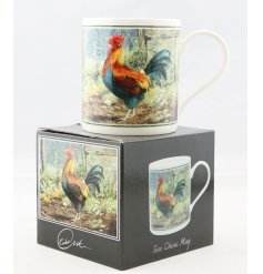 A beautifully vintage inspired illustrated China Mug, set with a rooster print and matching gift box