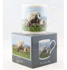 A beautifully vintage inspired illustrated China Mug, set with a shee print and matching gift box