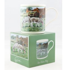 A beautifully vintage inspired illustrated China Mug, set with a donkey print and matching gift box