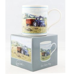 A beautifully vintage inspired illustrated China Mug, set with a tractor print and matching gift box