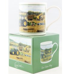 A beautifully vintage inspired illustrated China Mug, set with a Hay Bale print and matching gift box