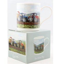 A beautifully vintage inspired illustrated China Mug, set with a Potato Harvest print and matching gift box