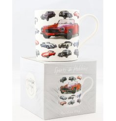 A Fine China Mug set with a wonderfully illustrated car themed decal