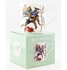 A Fine China Mug set with a wonderfully illustrated rugby themed decal
