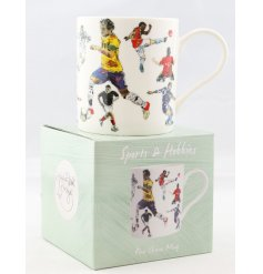 A Fine China Mug set with a wonderfully illustrated Football themed decal