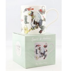 A Fine China Mug set with a wonderfully illustrated Gardening themed decal