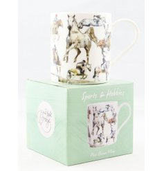 A Fine China Mug set with a wonderfully illustrated Riding themed decal