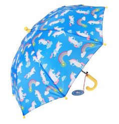 Let your little ones enjoy the rain with this bright blue 'Magical Unicorn' themed umbrella