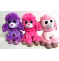 A fun assortment of pretty pink and purple toned soft toy poodles