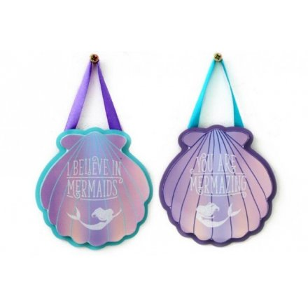 A pretty assortment of hanging double layered plaques set with a purple and blue mermaid theme