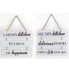 An assortment of 2 Triple tier Kitchen signs