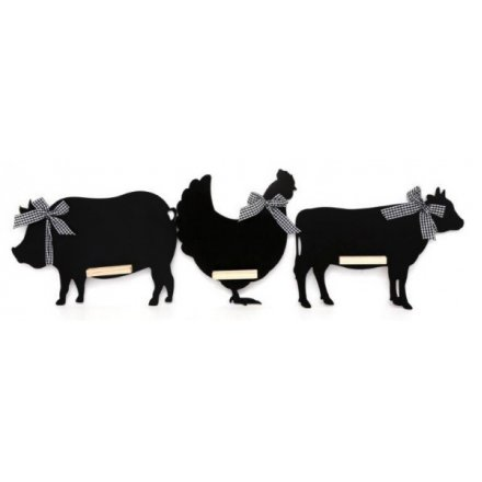 Country Animal Chalkboards, 3 Assorted