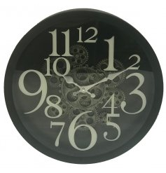 A Modern Look Black & Brass Cog Clock