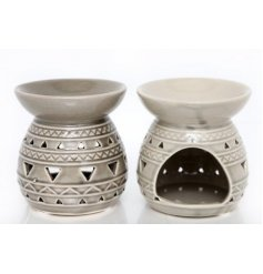 Bring a charming Aztec touch to your home spaces with this assortment of glazed ceramic oilburners