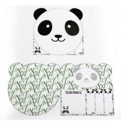 Add an adorable touch to your memo writing and note taking with this sweet Panda themed set of memo pads