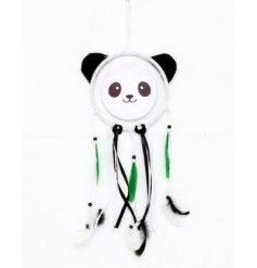 A Panda Dreamcatcher With Green Feathers