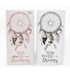 Capture all your bad dreams with this pure and warm inspired assortment of hanging wall plaques
