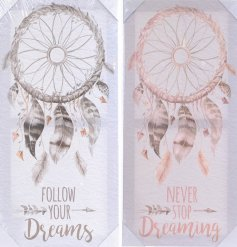 Add a pure and warm inspired feel to any home space with this assortment of pink and grey toned dream catcher plaques
