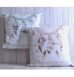 An assortment of 2 Dreamcatcher Design Cushions With Dream Quotes