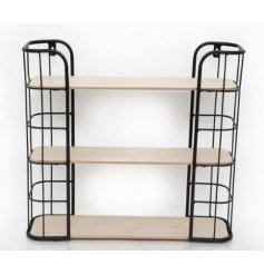 Arrange your plants and ornamental items in this contemporary wood and metal wall unit complete with 3 multi-level shelv