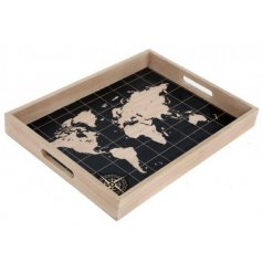 A World Map Print Wooden Serving Tray