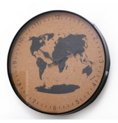 A World Map Print Cork Clock