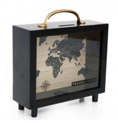 A travel fund money box with world map print