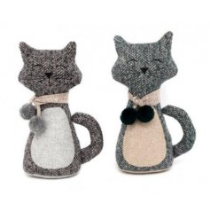 An assortment of 2 Cat With Scarf Doorstops