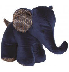 A small navy blue Elephant Doorstop