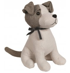 A  Jack Russel Dog Doorstop in neutral tweed fabric