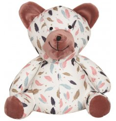 A small Teddy Bear Doorstop with Feather print