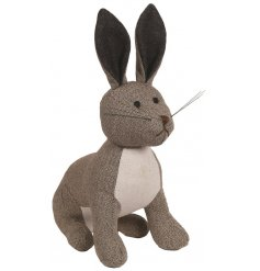 A Brown Rabbit Doorstop in tweed fabric
