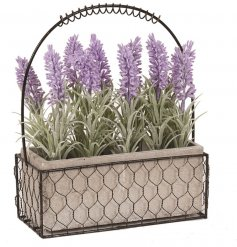 Bring a country charm to your home interior with this sweet basket of artificial lavender stalks
