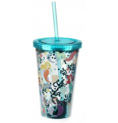 A double walled plastic drinks cup filled with a sparkling blue glitter