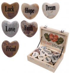 A box of Love Message on Heart Stones