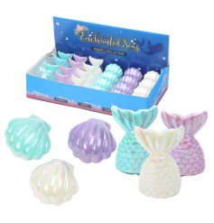 An assortment of 6 Enchanted Seas Mermaid Tail/ Shell Lip Balms