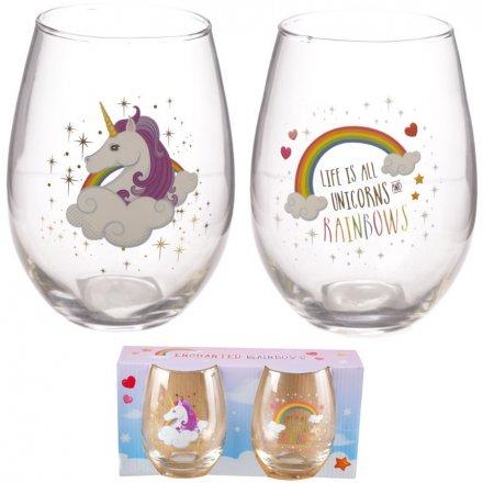 Enchanted Unicorns Glass Tumbler Set
