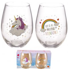 From the Enchanted Rainbows Range, this set of Tumbler Glasses will be sure to impress any unicorn fanatic!
