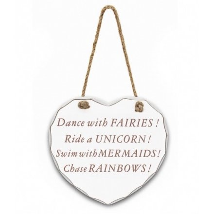 Dance With Fairies/Unicorn/Mermaids/Rainbows Large Wooden Heart Plaque