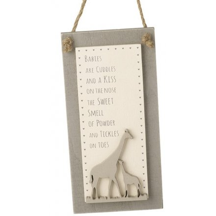 Cuddles and Kisses Hanging Wooden Plaque