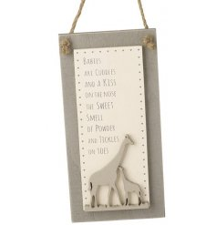 A beautifully written poem printed onto a natural wooden hanging plaque
